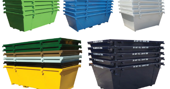 Skip bins in different colors and sizes